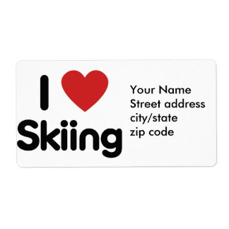 I Love Skiing Label