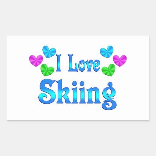 I Love Skiing Rectangular Sticker