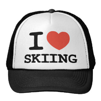 I Love Skiing - Red Heart Trucker Hat