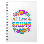 I Love Skiing Spiral Note Book