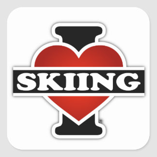 I Love Skiing Square Sticker