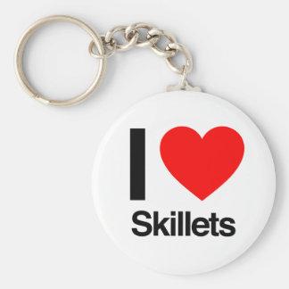 i love skillets basic round button keychain