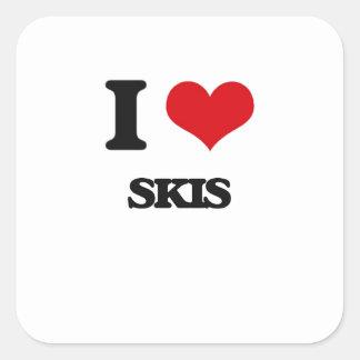 I Love Skis Square Sticker