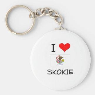 I Love SKOKIE Illinois Basic Round Button Keychain