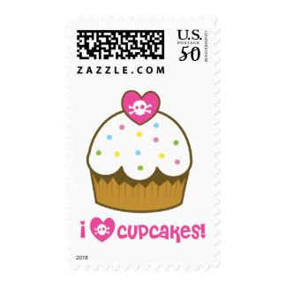 i love skull cupcakes postage