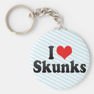 I Love Skunks Basic Round Button Keychain