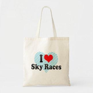 I love Sky Races Canvas Bags