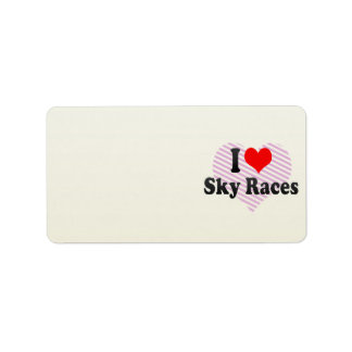 I love Sky Races Personalized Address Labels