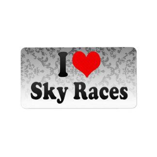 I love Sky Races Address Label