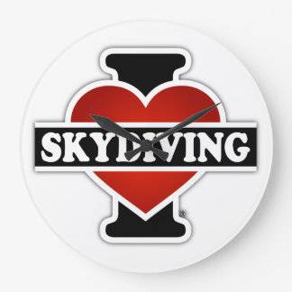 I Love Skydiving Large Clock