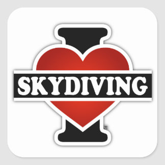 I Love Skydiving Square Sticker