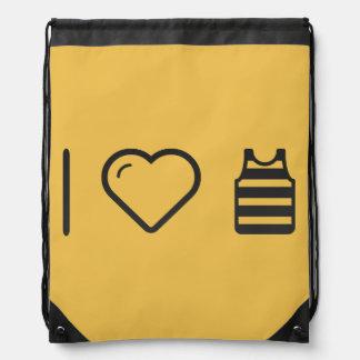 I Love Sleeveless Shirts Drawstring Backpack