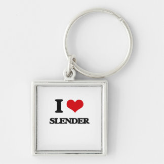 I love Slender Silver-Colored Square Keychain