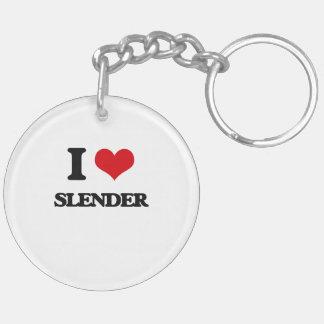 I love Slender Double-Sided Round Acrylic Keychain
