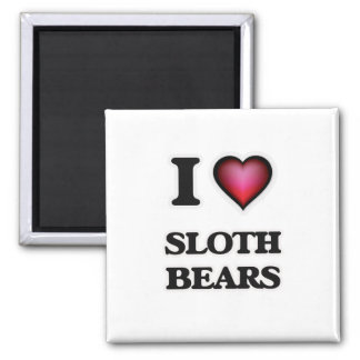 I Love Sloth Bears 2 Inch Square Magnet
