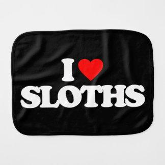 I LOVE SLOTHS BURP CLOTHS