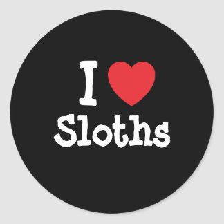 I love Sloths heart custom personalized Classic Round Sticker