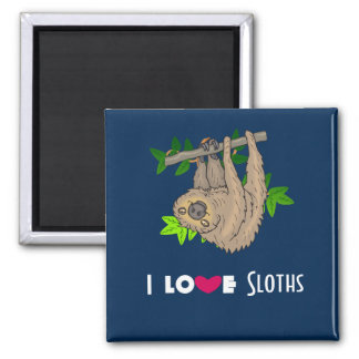 I Love Sloths 2 Inch Square Magnet