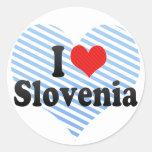 I Love Slovenia Round Stickers