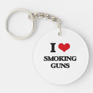 I love Smoking Guns Single-Sided Round Acrylic Keychain