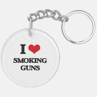 I love Smoking Guns Double-Sided Round Acrylic Keychain