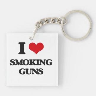 I love Smoking Guns Double-Sided Square Acrylic Keychain
