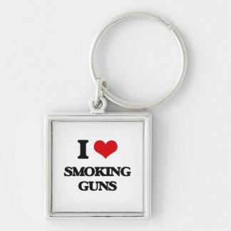 I love Smoking Guns Silver-Colored Square Keychain