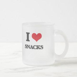 I love Snacks 10 Oz Frosted Glass Coffee Mug