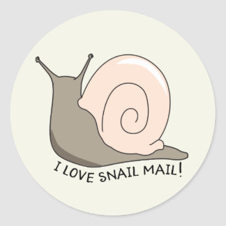 I Love Snail Mail Cute Round Sticker
