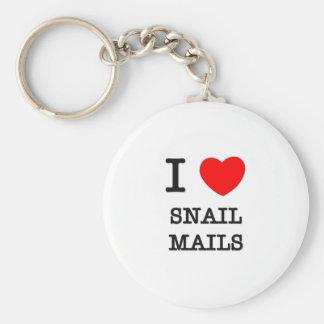 I Love Snail Mails Basic Round Button Keychain