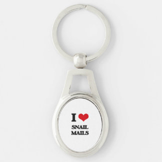 I love Snail Mails Silver-Colored Oval Metal Keychain