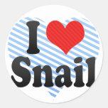 I Love Snail Round Sticker