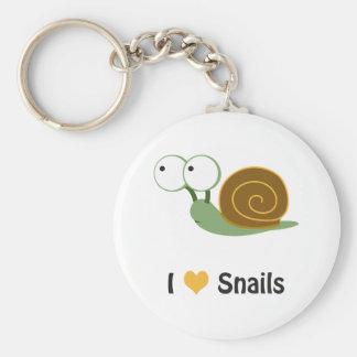 I love snails basic round button keychain