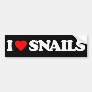 I LOVE SNAILS BUMPER STICKER
