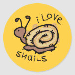 I Love Snails Round Stickers