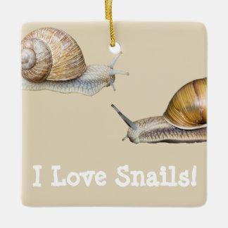 I Love Snails Snail Design Ceramic Ornament