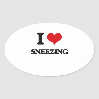 I love Sneezing Oval Sticker