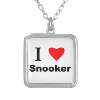 I Love Snooker Silver Plated Necklace
