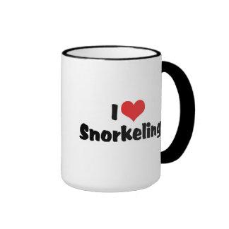 I Love Snorkeling Ringer Coffee Mug