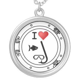 I Love Snorkeling Round Pendant Necklace
