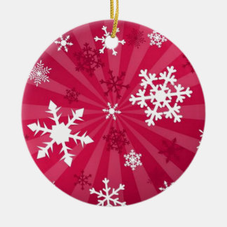 I Love Snow Ceramic Ornament