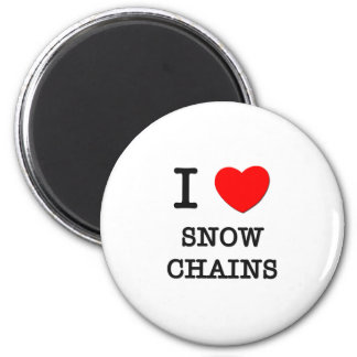 I Love Snow Chains 2 Inch Round Magnet