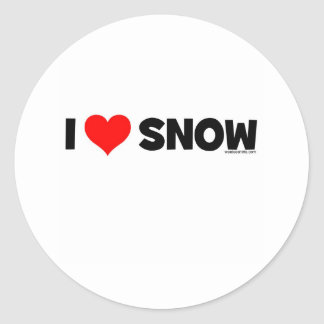I Love Snow Classic Round Sticker