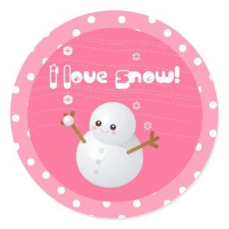 I Love Snow Cupcake Topper Stickers sticker