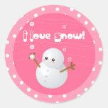 I Love Snow Cupcake Topper Stickers