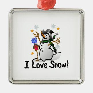 I Love Snow Square Metal Christmas Ornament