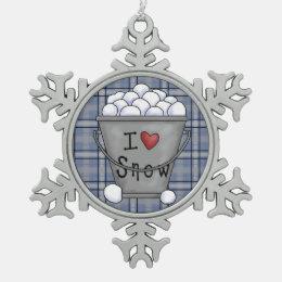 I love snow pewter snowflake ornament