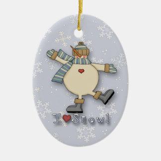 I Love Snow Snowman Double-Sided Oval Ceramic Christmas Ornament