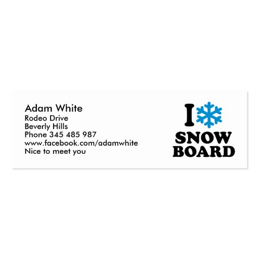 I love Snowboard Double-Sided Mini Business Cards (Pack Of 20)