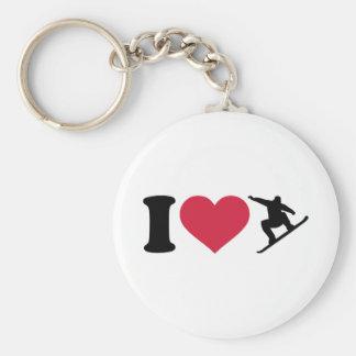 I love Snowboarding Basic Round Button Keychain